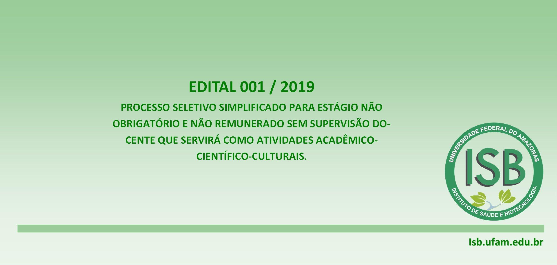 Edital 001/2019 – CMF/ISB/UFAM/Coari